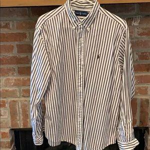 White with brown stripes XL button down Polo